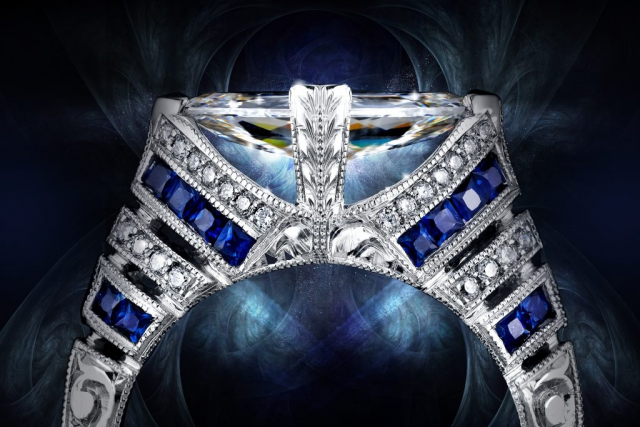 Jewelry ad, Jewelry advertising, Beautiful, Blue Ring Ad, creative jewelry ad