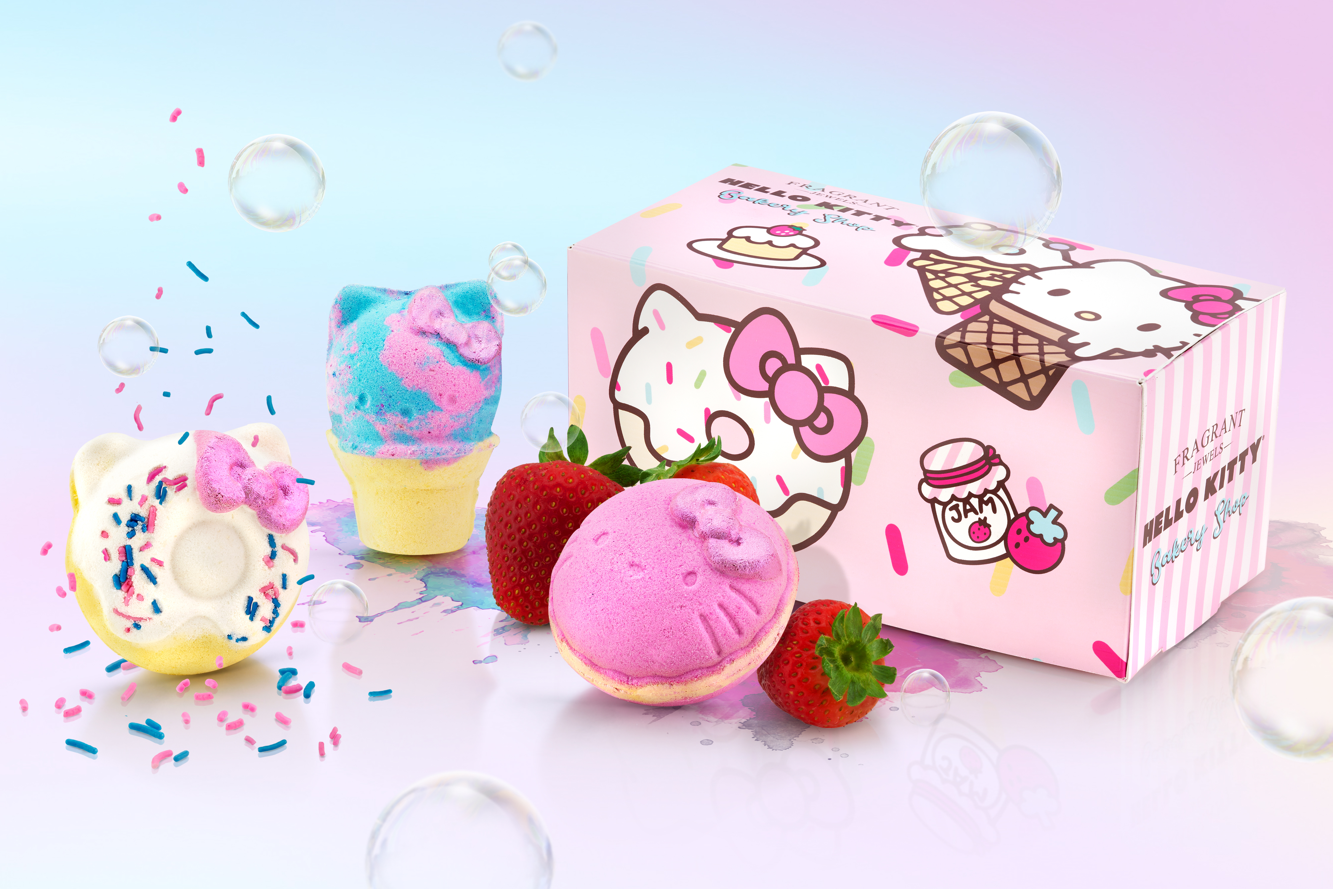Hello Kitty ad, Bath bombs, Graphic Design