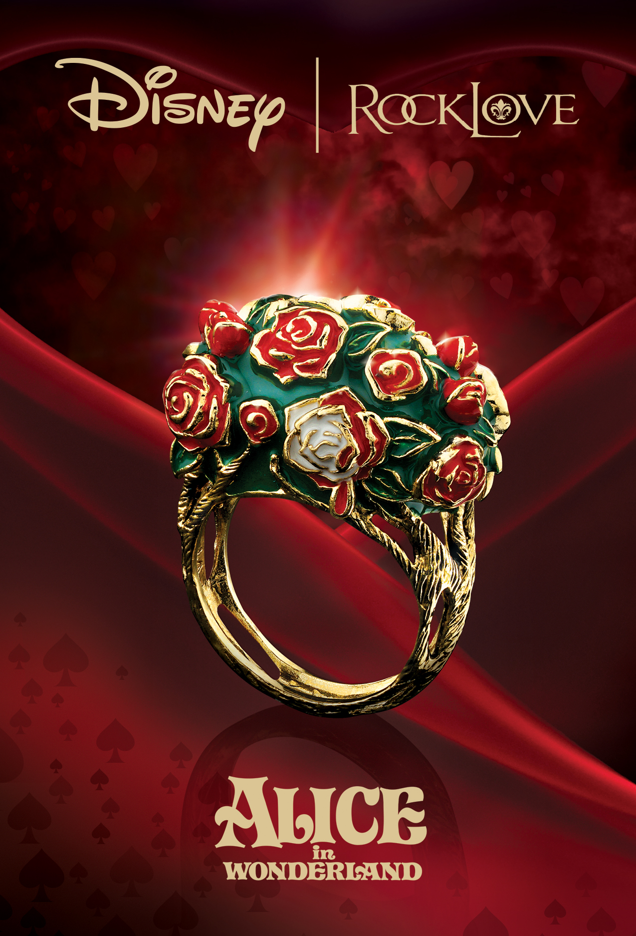 disney, alice in wonderland, beautiful, jewelry, ring, jewelry ad, red, print ad, creative jewelry ad