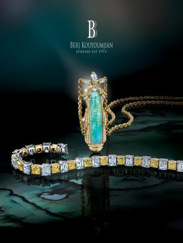 magazine ad, print ad, opal, jewelry, diamonds, necklace, bracelet, beautiful, dark, jewelry ad, creative jewelry ad