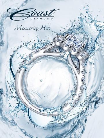 magazine ad, print ad, water, jewelry, splashes, beautiful, bright, blue, ring ad, jewelry ad, print ad, creative jewelry ad