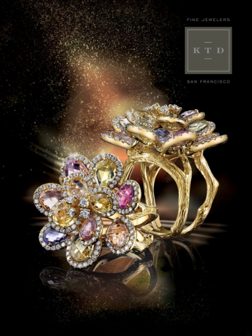 magazine ad, print ad, rings, colorful, jewelry, fine jewelry, dark, beautiful, jewelry ad, creative jewelry ad
