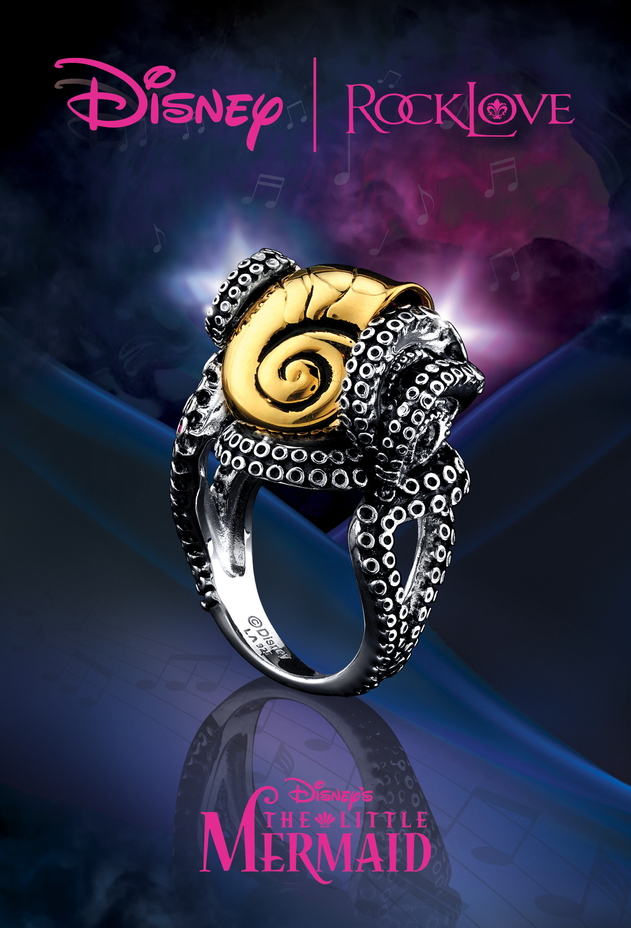 disney, the little mermaid, beautiful, jewelry, ring, jewelry ad, blue, print ad. creative jewelry ad