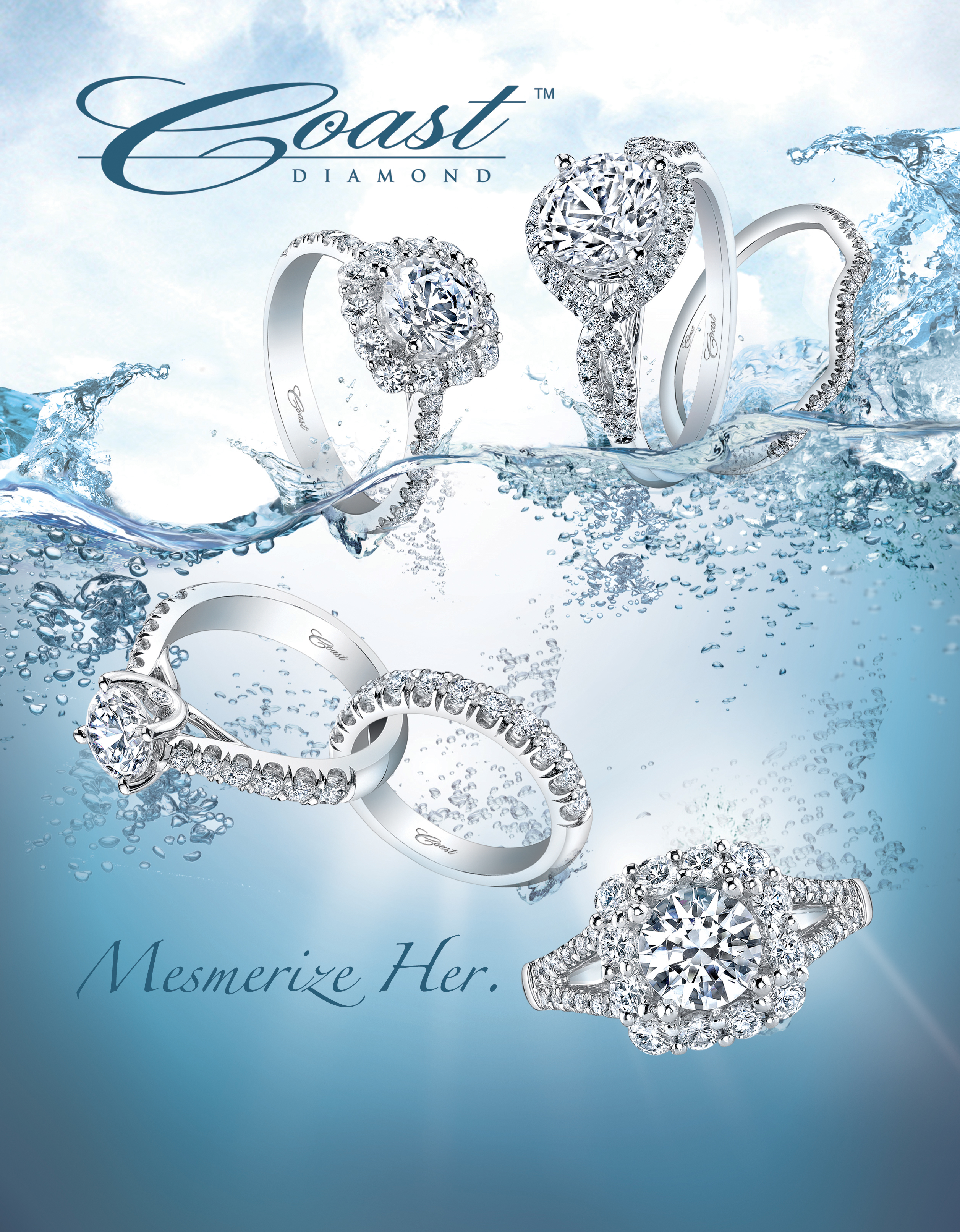 magazine ad, print ad, water, splashes, blue, beautiful, ring ad, engagement ring ad, print ad, jewelry, jewelry ad, creative jewelry ad