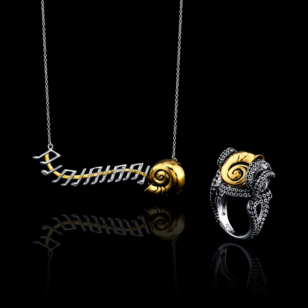 necklace, ring, gold, disney, the little mermaid, jewelry photography